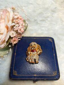 Vintage Kenneth J Lane KJL Rhinestone poodle dog pup pin brooch
