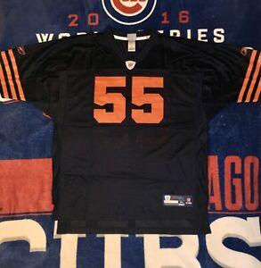 Reebok Men's Chicago Bears Lance Briggs Jersey Navy/Orange XL