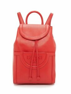 Tory Burch Serif T Backpack Grain Leather Red