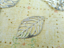 40 Silver Plated Small Filigree Leaf Charms Findings 42390