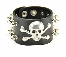 Skull Spike  Gothic Punk Bracelet Leather Thrash Metal Cosplay Gothic Death