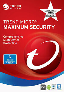 Trend Micro Maximum Security 2021 - 1 Year for 3 Devices (DOWNLOAD CONTENT)