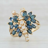 Diamond Blue Sapphire Butterfly Cocktail Ring - 14k Yellow Gold Size 9 Cluster