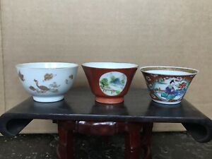 3pc 18th C Antique Chinese Famille Rose and Gilt Teacups