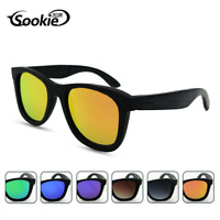 SOOKIE Unisex Bamboo Wood Polarized Sunglasses Black Wood Frame Vintage Glasses