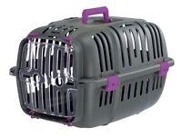Grey & Purple Cat Carrier Pet Puppy Basket Safe Travel Crate Vet Transport Box
