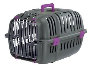 Grey & Purple Cat Carrier Pet Puppy Basket Safe Travel Crate Vet Transport Box