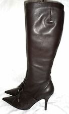 URBAN SOUL Chocolate Leather Boots with Ruched Toe (Display Stock) (Size 7)