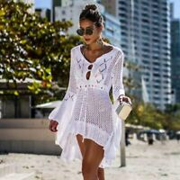 Women Crochet Knitted Cover-Up Beach Bikini Swimwear See-through Beach Dress
