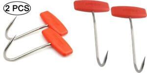 TIHOOD 2PCS Meat Hooks for Butchering,T Shaped Boning with Orange X2
