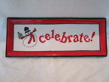 Holiday Home by Fitz & Floyd Celebrate Christmas Rectangle Plate Dish Snowman