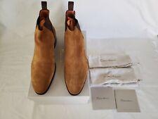 SANTONI Men's Light Brown Suede Chelsea Boots Size 9.5D/9UK