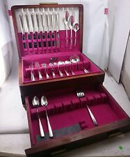 66 PCS BROOKWOOD BANBURY- SILVER PLATED Flatware Set 1950 ONEIDA Art Deco LOT
