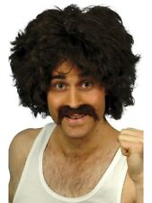118 118 Retro Wig + Mooustache Brown 80s Adults Fancy Dress
