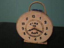 1940s Time to Save Tree Log Wood Clock Bank Marshall Michigan Pyrography Fire