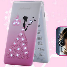 Pink Flip Cartoon Cute Mini Mobile Cell phone Best For Girls Lady XMas Gift
