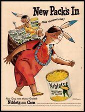 1949 NIBLETS Corn - Jolly Green Giant- Native Woman- Baby- Cartoon- VINTAGE AD
