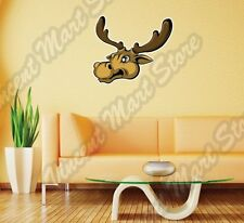 "Elk Deer Moose Racks Hunting Hunter Cartoon Wall Sticker Interior Decor 25""X22"""