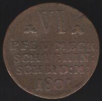 1801 German States Mecklenburg-Schwerin 6 Pfennig  European Coins Pennies2Pounds