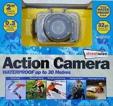 """Streetwize étanche caméra d'action avec 2"""" écran Tactile LCD Affichage Inc Mounts"""