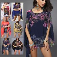 Summer Women Loose Chiffon Blouse Flower Print Batwing Tops Tee T-shirt Clothing