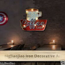 Retro Style Coffee Shop Bar Wall LED Light Signboard Iron Art Decoration