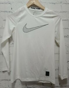Nike Pro Boy's Dri Fit Fitted Long Sleeve Shirt Top Youth Medium Logo White, A79