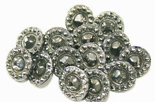 """14 Black Glass Overall Silver Luster Simulating """"Steels"""" 1/2"""" Buttons"""