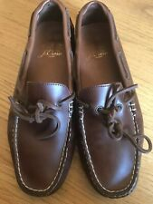 J Crew Mens Cognac Leather Moccasin Driving Boat Shoes Size 8.5/9 Worn Once!