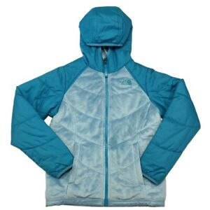 The North Face Girls Coat Reversible Fuzzy Blue Teal Hooded Size Medium 10 12