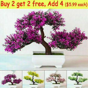 Artificial Plants in Pots Fake Pine Tree Bonsai Potted Flowers Model Home Decor