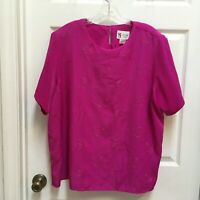 Maggie Sweet 2X Blouse Silky Fuchsia Top Embroidered Paisley Short Sleeves