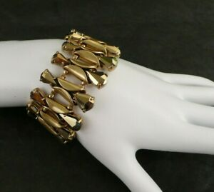 """NWT J. CREW Retail $75 RADIANT BRACELET FACETED GLASS CRYSTALS 7"""" L x 1-1/4"""" W"""