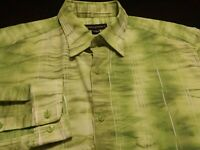 Jhane Barnes Mens Large Long Sleeve Button-Front Green Striped Shirt