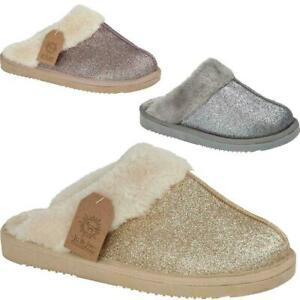 Ladies Womens Winter Fur Glitter Fleecy Slipper Warm Hard Sole flats Mule Shoes