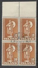 Iceland stamps 1939 YV 188a P.11 1/2 Bloc of 4  CANC  VF