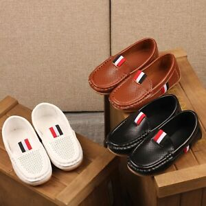 Kids Girls Boys Slip-on Loafers Oxford PU Breathable Leather Flats Casual Shoes