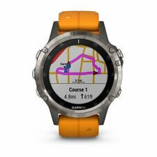 Garmin Fenix 5 Plus zafiro titanio reloj GPS con naranja banda 010-01988-04