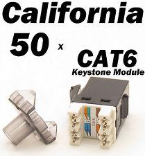 50 X Pcs Keystone 8P8C CAT6 RJ45 Network 110 Style Socket Punch Down Jack Black