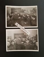 Original Vintage WWII German Military Soldiers, Tapping A Keg In Barracks PHOTO