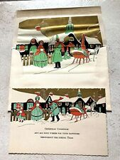 Vintage Greeting Card & Envelope Christmas Art Deco 1920s Shoveling Snow New