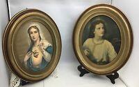 Vintage Borin Chicago Pair Religious Framed Art Boy Jesus, Mary