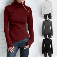 Women Casual Solid Blouse Long Sleeve Pullover Turtleneck Zipper Sweatshirt Tops