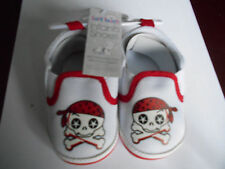 Pirate Skull & X-Bones Slip on Infant Shoes White with Red Trimmings 3-6mths