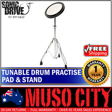 """New Sonic Drive 8"""" Tunable Drum Practise Pad with Stand for Beginner Quiet Play"""