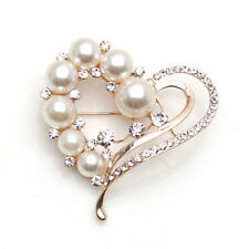 Simulated Pearl Heart Shaped Crystal Brooches for Women Collar Pins Jewelry Gift