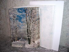 Christmas Cards Country Road Winter Scene Usa Set/ 7