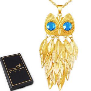 Lange Halskette & Anhänger Eule, Damen Gelb-Gold, im Etui, Schmuckhandel Haak®