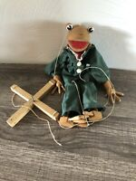 Vintage Handcrafted Hand Painted Hand Carved Wood Frog Clown
