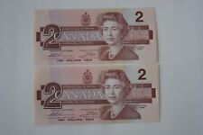Lot of 2 GEM Uncirculated 1986 Canadian $2 Dollar Paper Money Bills